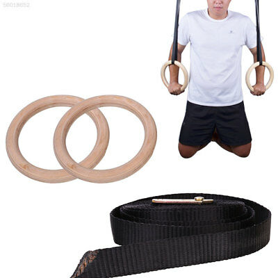 6EEB Wooden Exercise Fitness Gymnastic Rings Adjustable Crossfit Pull Ups Muscle
