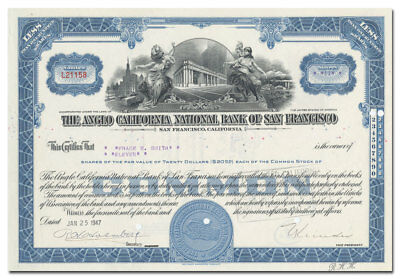 Anglo National Bank of San Francisco Stock Certificate