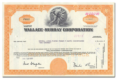 Wallace-Murray Corporation Stock Certificate (Auto Bodies)
