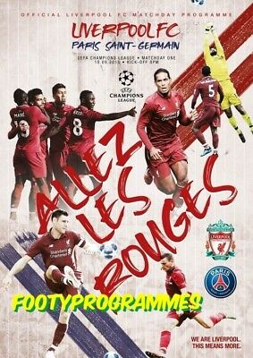 Liverpool V PSG Champions League Programme 18th September 2018.