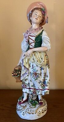 Antique German Dresden Sitzendorf Porcelain Figurine Of Maiden With Apples Rare