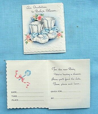 VINTAGE 1940's BABY SHOWER DIE-CUT INVITATIONS  BLUE  BOOTIES  UNUSED PACK OF 8