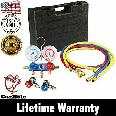 HVAC AC Refrigeration Kit A/C Manifold Gauge Set Air R12 R22 R134a + 5FT Hose BE
