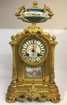 Fine Antique French Japy Freres 19th C Gilt & Sevres Porcelain Mantle Clock