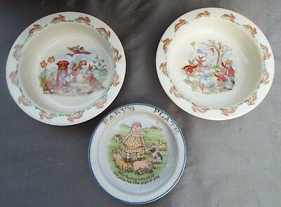 Antique Baby Bunting w/Pigs Verse Dish + 2 Royal Doulton BunnyKIns 1936 dish lot