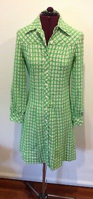 Vintage  1960s green and white checked dress Made In USA Union labour