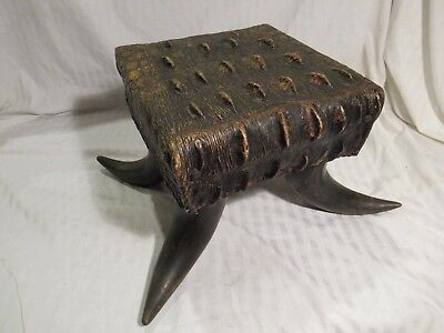 Vintage Horn and Alligator Foot Stool, Western, 10 1/2 in. wide x 10 in. long
