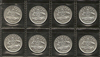 1938 to 1945 Australian Sixpence Part Set 92.5% Sterling Silver 1