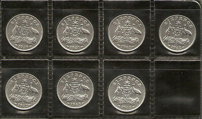 1938 to 1945 Australian Sixpence Part Set 92.5% Sterling Silver 2