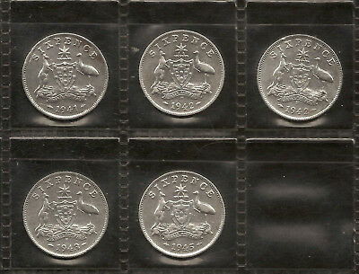 1941 to 1945 Australian Sixpence Part Set 92.5% Sterling Silver 2