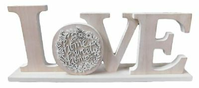 Wooden Sign French Country Vintage LOVE Table Top Plaque Carved New