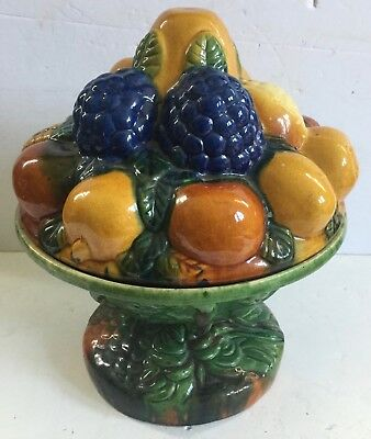 Huge Antique Majolica Pedestal Fruit Bowl and Cover - Rare and Unusual - Estate