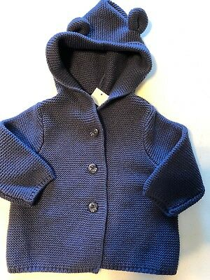 New Baby Gap Boy's 3 6 Months Knit Sweater Button Front Bear Ears Hoodie Blue