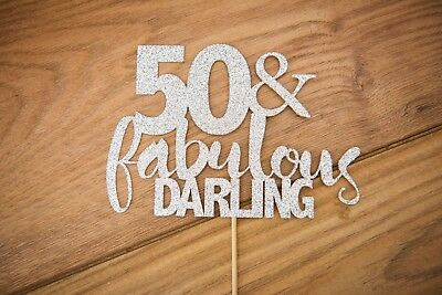 50th Birthday Cake topper/banner Many colours including ROSE GOLD