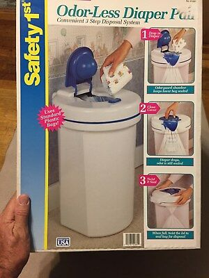 New in Box! Safety 1st Odor-Less Diaper Pail, Blue&White, uses 13 gal. kitch bag
