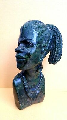 "African Woman Shona Zimbabwe Art Sculpture in Verdite Stone 5.5"" tall - Signed"