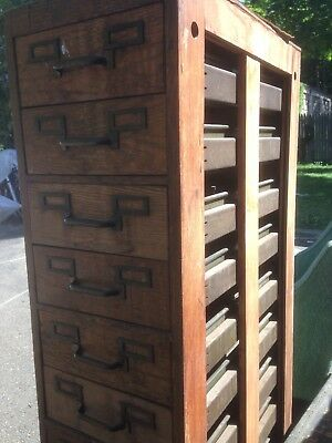 old industrial library card file cabinet, oak, metal.