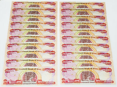 ALMOST GONE - 20 UNCIRCULATED - 25000 IQD Banknotes - HALF MILLION IRAQI DINAR
