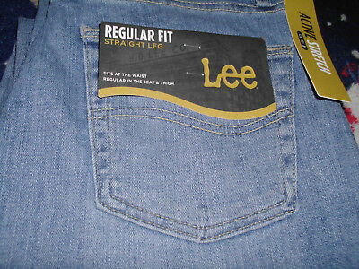 Men's New 32 x 34 Lee Regular Fit Monroe Light Wash Straight Leg Stretch Jeans