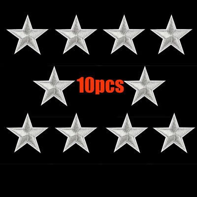10PCS Silver Stars Embroidered Badges Iron On Patches Motif Applique Stickers AU
