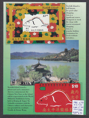 Norfolk Isl Booklet:  1996  Limited Edition Year Of The Rat M/s And Phonecard.