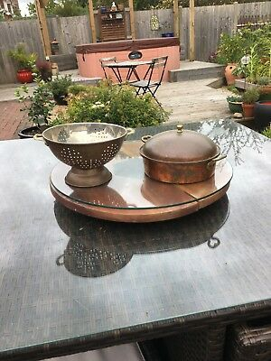copper pot with lid and colander