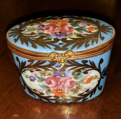 Antique Sevres French Porcelain Small Box Handpainted & Brass Mounts