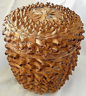 Large Fancy Hand Made Mohawk AMERICAN INDIAN Split Ash and Sweet Grass Basket