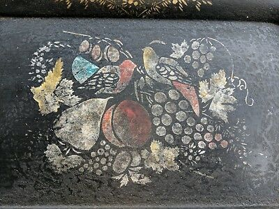 Antique Toleware Painted Tray American Birds & Fruit Stencil