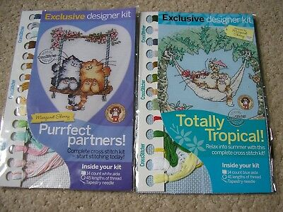 Margaret Sherry cross stitch kits X 2 Purrfect partners and Totally Tropical