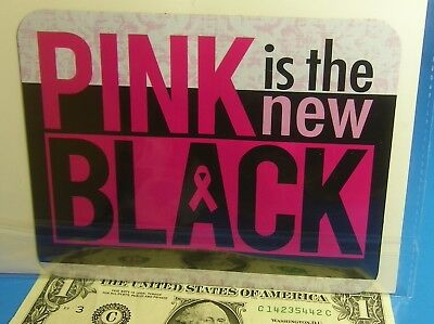 "Breast cancer Awareness PINK IS THE NEW BLACK  5.8"" X 4.6"" Car Fridge Magnet"