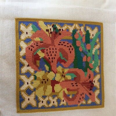 """Completed tapestry of 2 LILIES 11"""" sq.Bright colours, ?Elizabeth Bradley."""