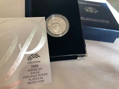 2008 W Platinum Proof Eagle $50 1/2 oz with original packaging