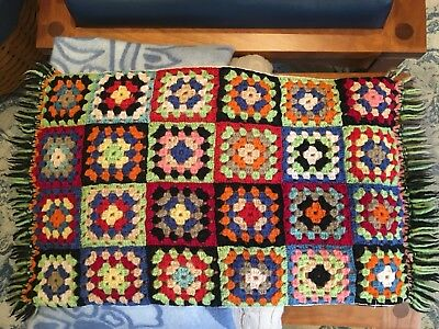 Antique vintage granny square handmade small throw 15 x 30 excellent condition