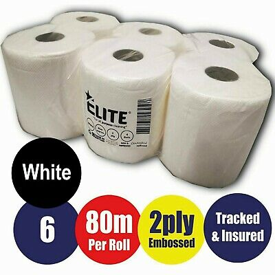 6 Pack 2 Ply *white* Embossed Centre Feed Paper Wipe Rolls-E-