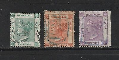 Hong Kong stamps #18, 19a & 20, Used, QV, 1800's, British Colony, CV $42