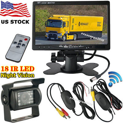 "Wireless 7"" HD TFT LCD Parking Rear View Monitor +RV Truck Trailer Backup Camera"