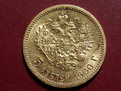 5 ROUBLES 1900 ORIGINAL ANTIQUE GOLD COIN 4.3 grams  IMPERIAL RUSSIA RUSSIAN