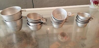Vintage Kitchen Measuring Cups Lot Aluminum Lot Of 17 kitsch 1 Cup 1/2 Cup etc.