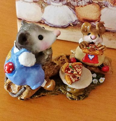 Wee Forest Folk M-244 Possum's Pizza Party  Blue Overalls RETIRED Mint