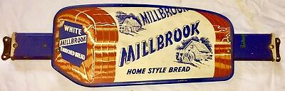 Vintage Advertising Rare Millbrook Bread Door Push Bar Sign in Great Condition