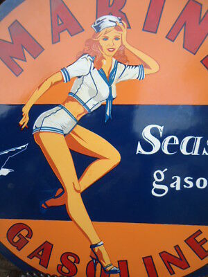 Vintage 1947 Marine Seaside Gasoline Porcelain Gas Station Pump Sign