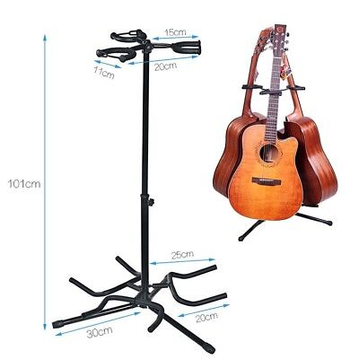 Triple Guitar Stand 3 Electric Acoustic Bass Padding Organizer Height Adjustable