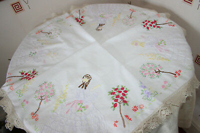 "Gorgeous Vintage White Linen 39"" Square Tablecloth Crinoline Ladies."