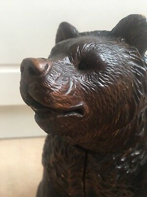 Rare Antique Vintage Black Forest Bear  Carved Tobacco Jar 9.5 Inches Damaged NR