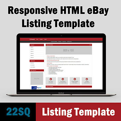 eBay Listing Template Responsive HTML - Professional Design - Red Example
