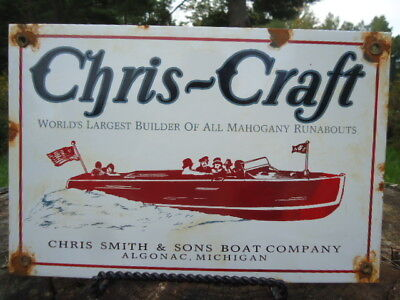 Vintage Chris-Craft Boats Porcelain Sign Algonac, Michigan