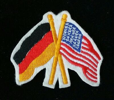 FREE SHIP - Germany Deutschland US American Crossed Flags Embroidered Patch
