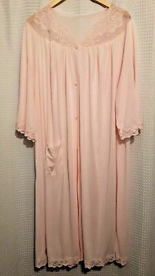 Vintage Shadowline Pale Pink Soft House Coat Loose Made in USA Size 3X