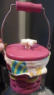Longaberger 2011 Collectors Club Small Pail Basket w/Protector, Liner Beach Thme